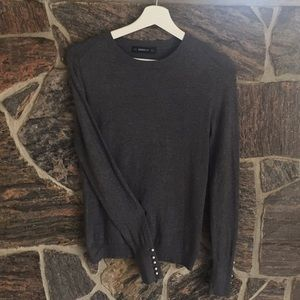 Dark Gray Sweater with Pearl detailing